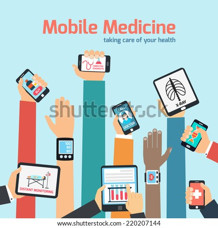 Mobile health concept with human hands holding gadgets vector illustration - stock vector
