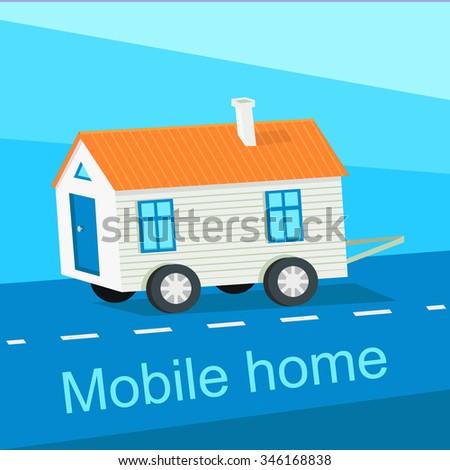 Mobile Home Flat Design Banner Caravan And Manufactured Trailer Camper