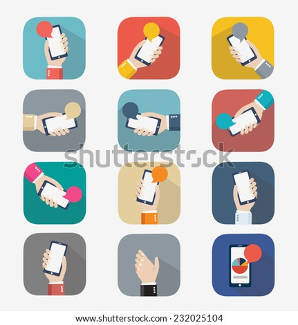 Mobile icon. design vector illustration. Human hand with mobile phone and interface icons  - stock vector