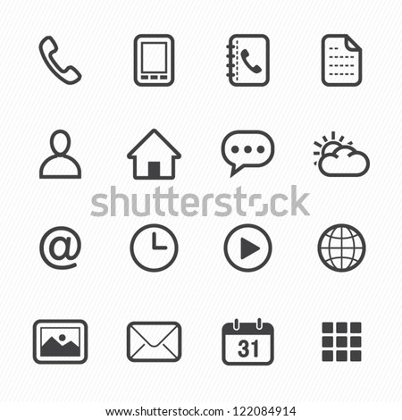 Mobile Icons with White Background - stock vector