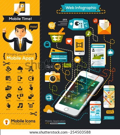 Mobile infographic chart flat design style - stock vector