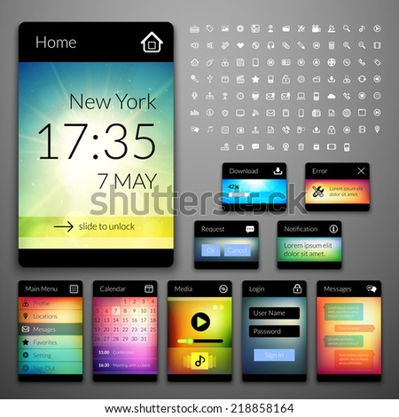 Mobile interface elements with colorful wallpaper and icon set, design for applications, panel lists player calendar chat homepage main menu notification error question and download - stock vector