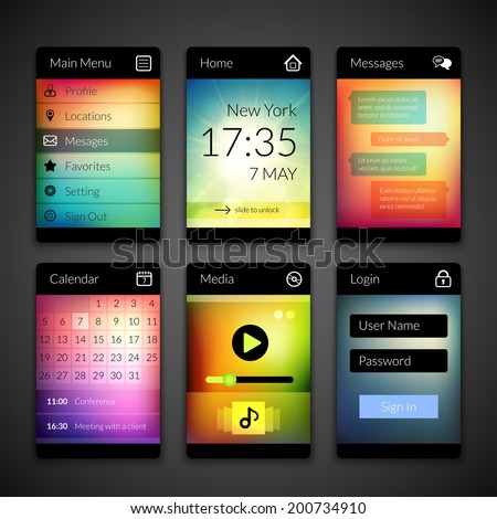 Mobile interface elements with colorful wallpaper, design for applications, panel lists player calendar chat homepage and main menu - stock vector