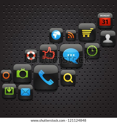 Mobile interface icons abstract background - stock vector