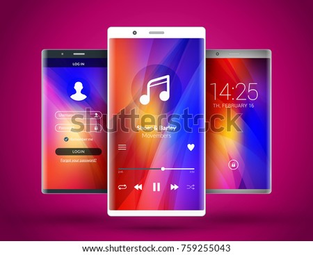 Mobile Interface Wallpaper Design Abstract Vector Background Modern Smartphone Application Elements Metallic