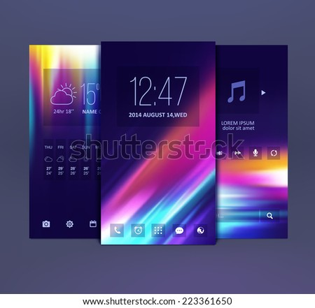 Mobile interface wallpaper design. Vector - stock vector