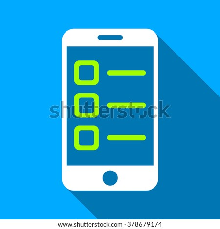 Mobile List long shadow vector icon. Style is a flat light symbol with rounded angles on a blue square background. - stock vector