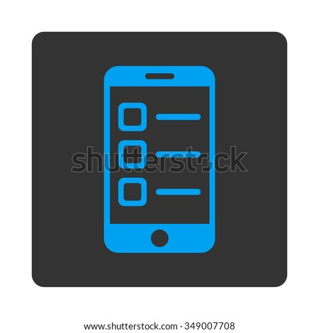 Mobile List vector icon. Style is flat rounded square button, blue and gray colors, white background. - stock vector