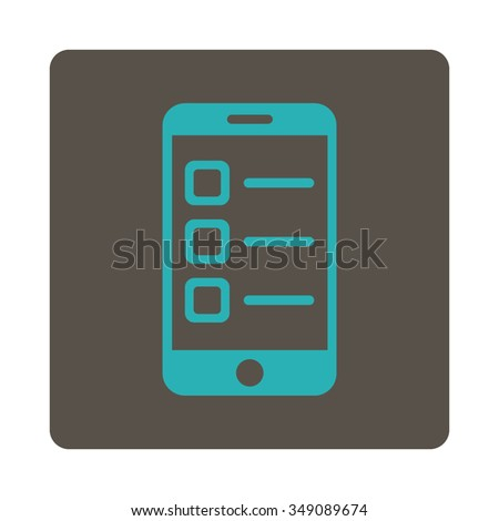 Mobile List vector icon. Style is flat rounded square button, cyan and grey colors, white background. - stock vector
