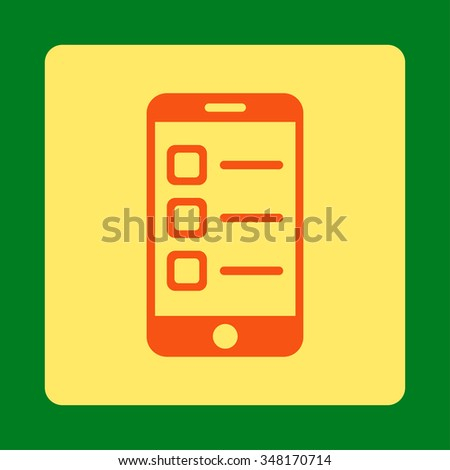 Mobile List vector icon. Style is flat rounded square button, orange and yellow colors, green background. - stock vector