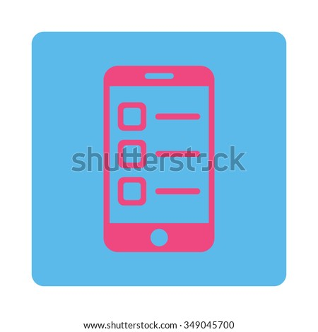 Mobile List vector icon. Style is flat rounded square button, pink and blue colors, white background. - stock vector