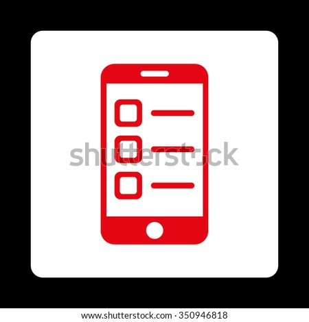 Mobile List vector icon. Style is flat rounded square button, red and white colors, black background. - stock vector