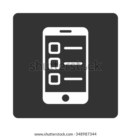 Mobile List vector icon. Style is flat rounded square button, white and gray colors, white background. - stock vector