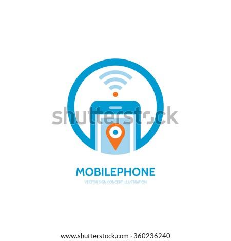 Mobile location vector logo concept illustration. Smartphone vector logo creative design. Mobile technology logo. Cellphone logo. Wi-fi mobile phone logo design. GPS location in smartphone. - stock vector
