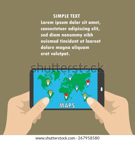 Mobile maps with map pointers . Place for text - stock vector