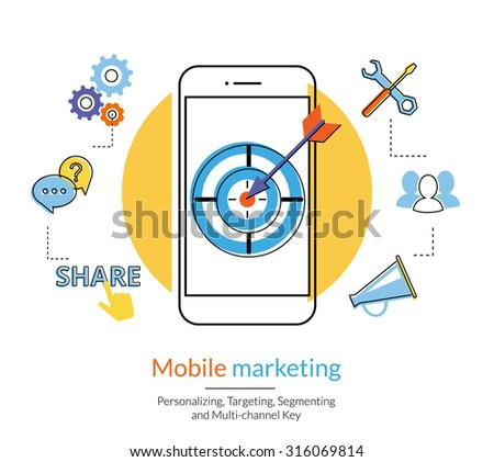 Mobile marketing and targeting. Flat contour illustration of a smartphone with dartboard in the screen. Text outlined, free font Lato - stock vector