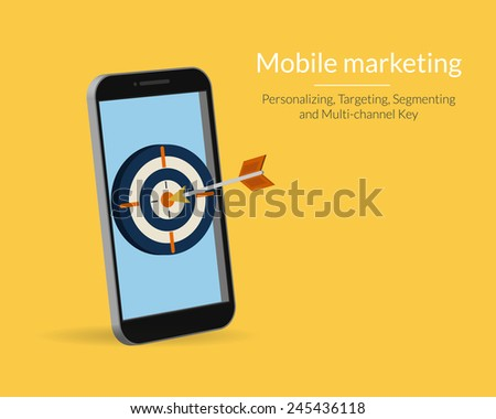 Mobile marketing and targeting. Smartphone with dartboard in the screen. Text outlined, free font Lato - stock vector
