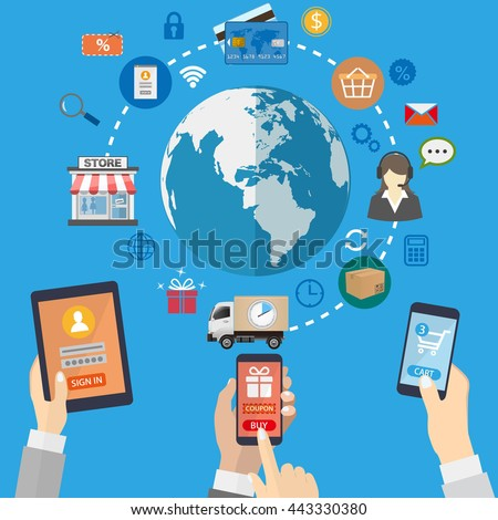 Mobile marketing concept. Online shopping.