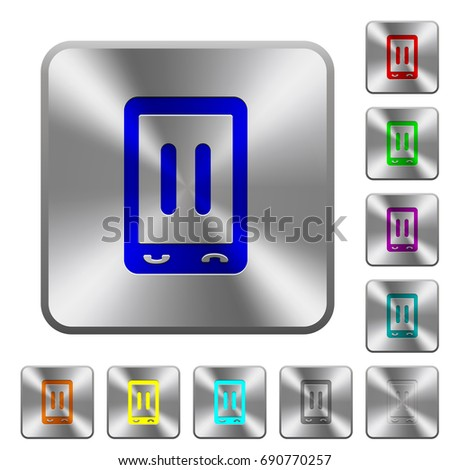 Mobile media pause engraved icons on rounded square glossy steel buttons