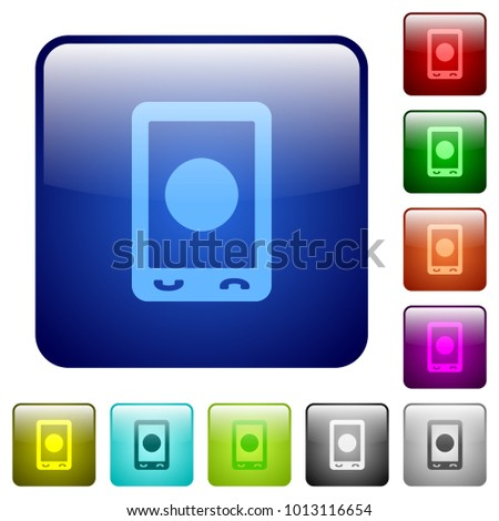 Mobile media record icons in rounded square color glossy button set