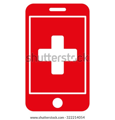 Mobile Medicine vector icon. Style is flat symbol, red color, rounded angles, white background.
