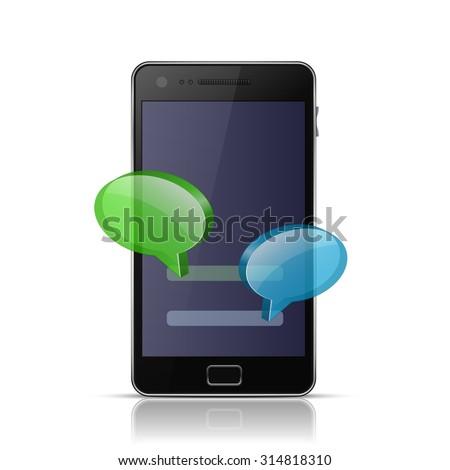 Mobile messenger app icon. Messenger icon for smart phone. Vector illustration - stock vector