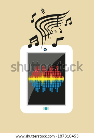 Mobile Music Library Applications Audio Streaming Stock ...