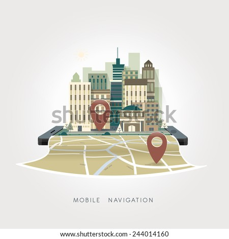 mobile navigation apps concept in flat design style - stock vector