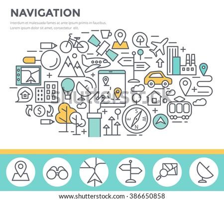 Mobile navigation concept illustration, thin line flat design - stock vector