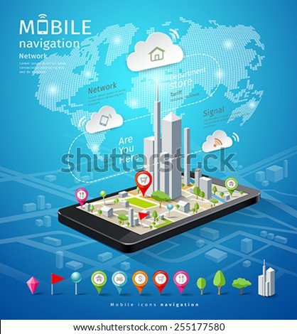 Mobile navigation map icons connections design background, vector illustration - stock vector