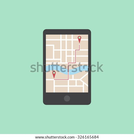 mobile navigation on a screen - stock vector