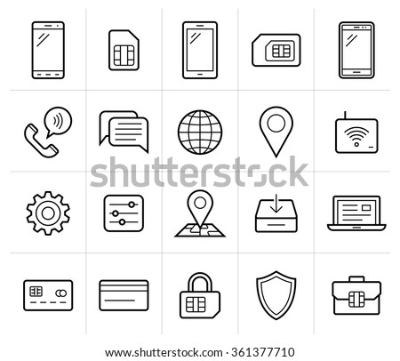 Mobile network operator or wireless service provider icons. Vector icons for cellular company