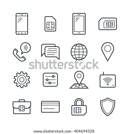 Mobile network operator or wireless service provider icons. Vector icons for cellular company - stock vector