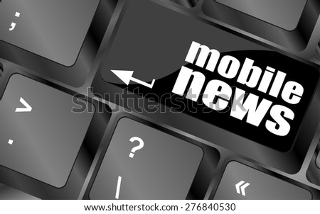 mobile news word on black keyboard and green button vector - stock vector