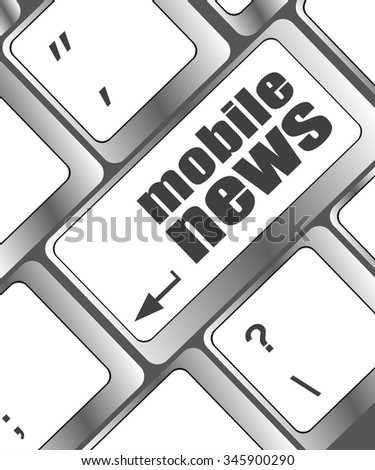 mobile news word on black keyboard button vector illustration