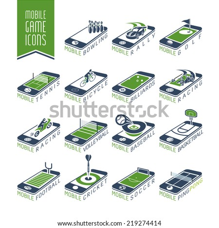 Mobile - online sport games icon set - stock vector