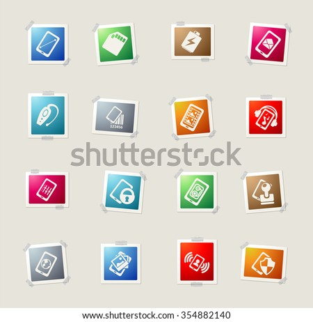 Mobile or cell phone, card icons for web - stock vector
