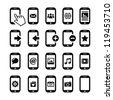 Mobile or cell phone, smartphone, contact icons set - stock vector