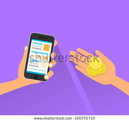 mobile payment cell smart phone technology hands with coins flat vector illustration - stock vector
