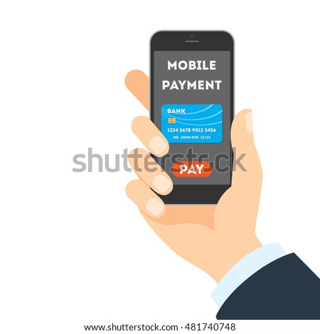 Mobile payment concept. Easy transaction with mobile banking. Credit card in smartphone. Payment through internet.