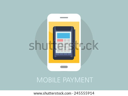 mobile payment concept flat icon - stock vector