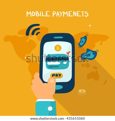 Mobile payment concept. Man holding phone