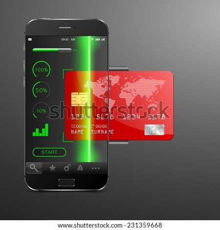 Mobile payment concept . Modern mobile phone with a credit card. Vector illustration - stock vector