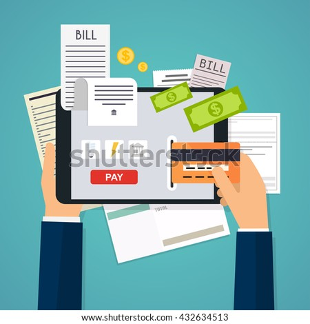 Mobile payment concept. Phone laying down on bill heap. Flat vector icon.