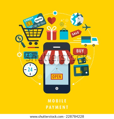 mobile payment concept with related elements in flat design  - stock vector