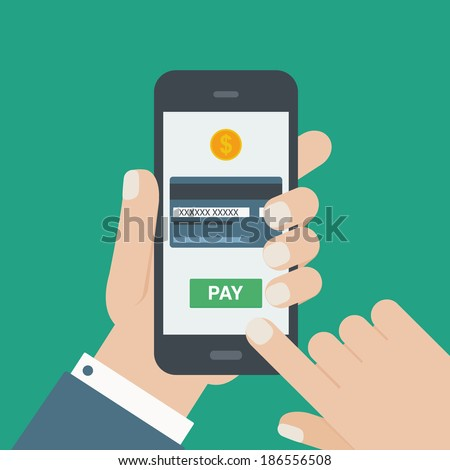 mobile payment credit card, hand holding phone, flat design - stock vector