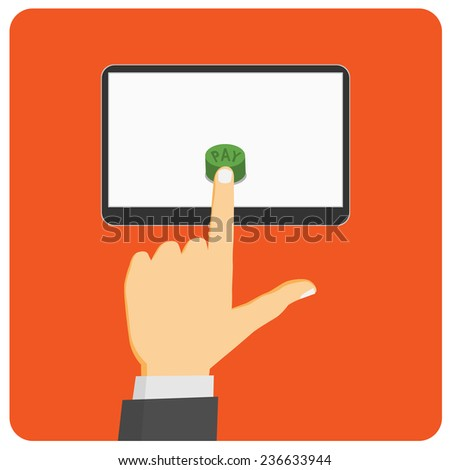 Mobile payment. Flat design style illustration.  - stock vector