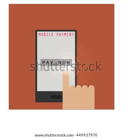mobile payment flat icon style with hand touching on payment button on screen