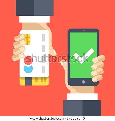 Mobile payment flat illustration concept. Transaction accepted. Modern flat design concepts for web banners, website, printed materials, infographics. Creative vector illustration - stock vector