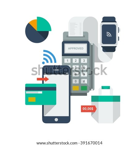 Mobile payment icons - stock vector